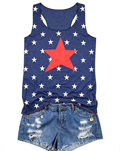 (LUKYCILD Women Star Print Tank Top Patriotic Shirt Independence Day Cute Funny Graphic Print Vest Top Size M (Blue) )