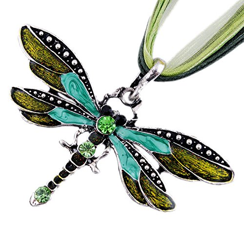 MFINHOME Fashion Rhinestone Inlay Gem Tone Green Dragonfly Pendant Necklace With Chain]()