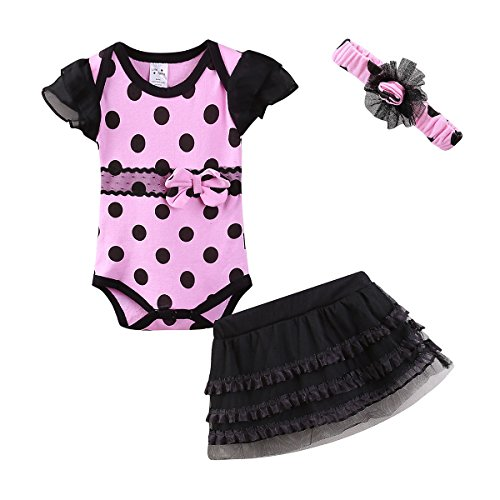 Mud Kingdom Cute Thanksgiving Baby Girl Outfits 0-3 Months Clothes Sets Large Dot (Beautiful Baby Lace Skirt)