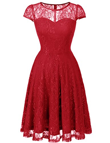 DRESSTELLS Women's Bridesmaid Dress Retro Lace Swing Party Dresses with Cap-Sleeves DarkRed XL by DRESSTELLS