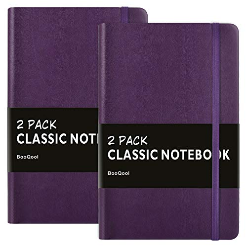 2 Pack Notebooks/Journals - Premium Thick Paper Faux Leather Writing Classic Ruled Notebook, Purple, Hard Cover, Large, Lined (5 x 8.25)