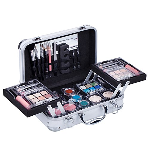 Maúve Carry All Trunk Train Case with Makeup and Reusable Black & White Aluminum Case (WHITE)