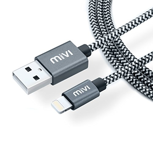 Apple MFi Certified 6ft long Nylon Braided Original Mivi Tough Lightning Cable(Black)