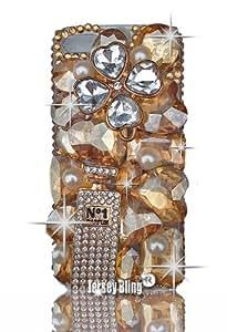 Jersey Bling (TM) HOT! GOLD/TOPAZ BLING 3d Handmade Swarovski Crystal & Czech Rhinestone Iphone 5 case/cover with HUGE Gems, Hearts, Perfume Bottle, Flower, Designer Inspired