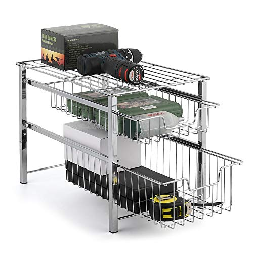 Stackable 2 Tier Cabinet Basket Mesh Wire Grid Sliding Drawer Pull Out Organier Storage Rack for Kitchen Home Countertop Under the Sink Chrome (Countertop Cabinet Storage)