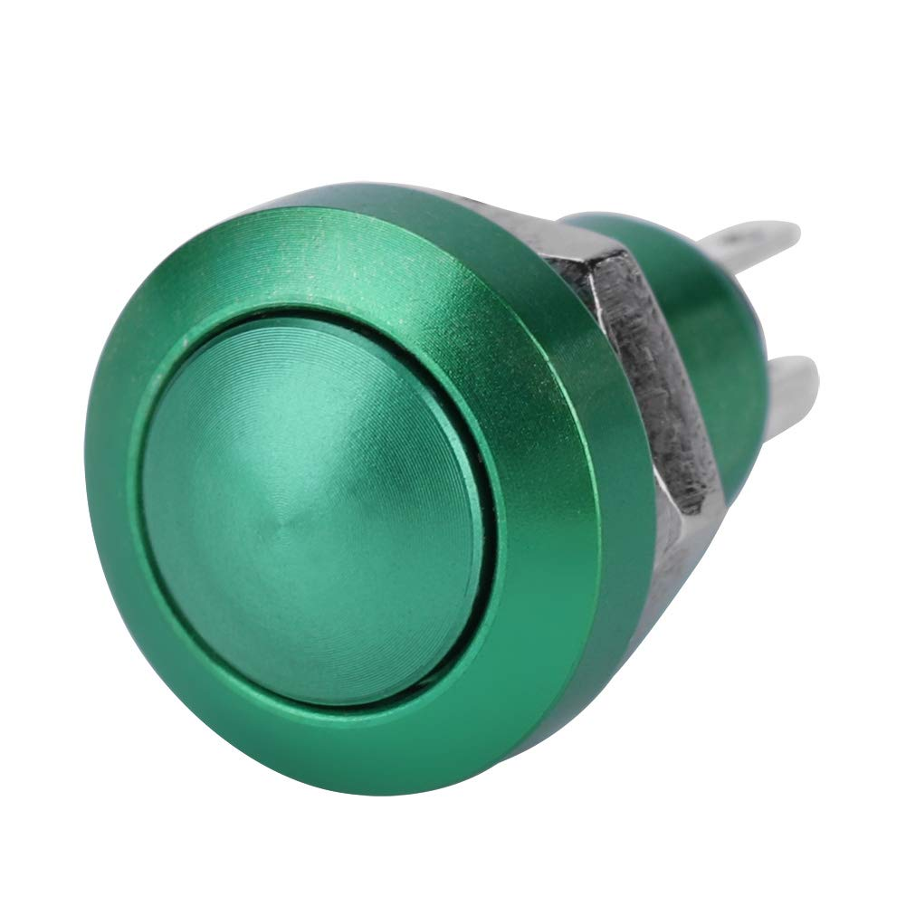 Car Push Button Black 1A 24V 8mm Mini Car Auto Vehicle Zinc-Aluminium Alloy Momentary Push Button Switch with Exquisite CNC Housing