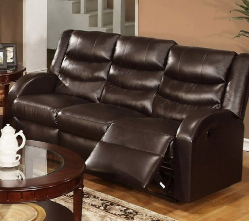 Bobkona Motion Sofa in Espresso Bonded Leather by Poundex