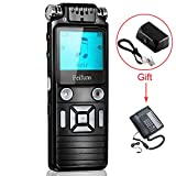 Digital Voice Recorder, Tape Recorder 8GB Digital Audio Recorder Sound Recorder Dictaphone with MP3 Player, Dynamic Noise, Voice Activated Landline Call Recorder for Meetings Lectures Interviews