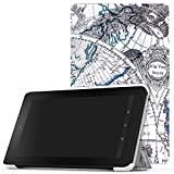 MoKo Case for Fire 2015 7 inch - Ultra Lightweight Slim-shell Stand Cover for Amazon Fire Tablet (7 inch Display - Previous 5th Generation, 2015 Release Only), Map F