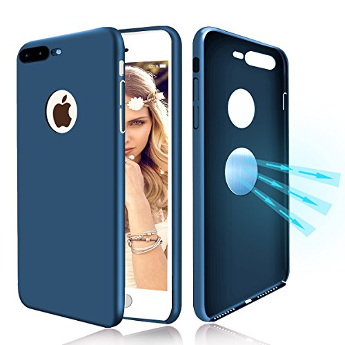 iPhone 7 Case, Haobuy Shock-Absorption Anti-Fingerprint Invisible Built-in Magnetic Metal Plate Phone Case,Ultra Thin Slim Protective Cases Cover for iPhone 7 4.7 - Blue [smooth Material]