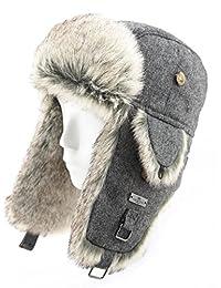 FUR WINTER Wool Blend Herringbone Tweed Faux Fur Aviator Bomber Trapper Pilot Ski Hat