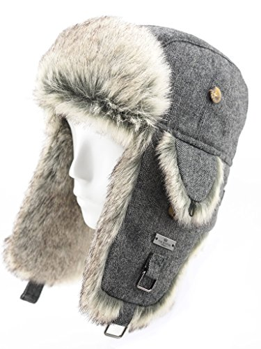FUR WINTER Wool Blend Herringbone Faux Fur Aviator Bomber Trapper Hat GRY L/XL