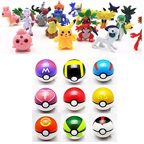 (9pcs Pokemon Ball Poke Pokeball Figures Pop Toys Action Figure Pikachu Plus 24pcs Random Anime Figures)