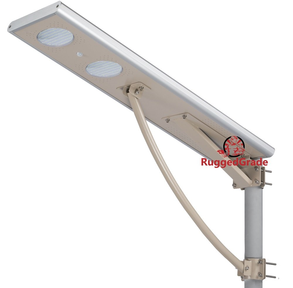 40 Watt LED Solar Street Light – Over 4,000 Lumen - All in One LED Solar Motion Light – Solar Post Light - Professional Grade Street Solar Lighting - Solar Powered & Lithium Ion Battery Included