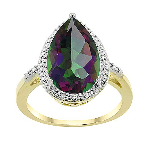 10K Yellow Gold Natural Mystic Topaz Ring Pear Shape 10x15 mm Diamond Accent, size - Ring Topaz Mystic Diamond