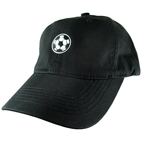 AffinityAddOns Soccer Ball Dad Hat, Black Baseball Cap, Embroidered Patch