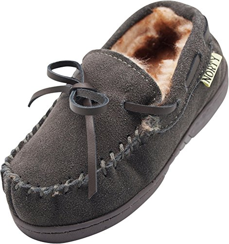 NORTY Toddler Little Kid Big Kid Genuine Leather Cowhide Suede Moccasin Slippers