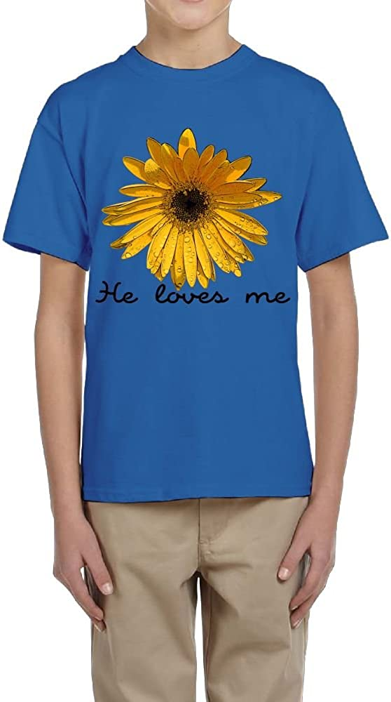 Teenager T-Shirt Boys Girls Young Short Sleeved Tee Clothing Sunflower