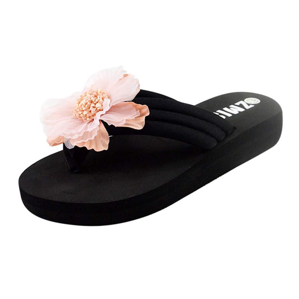 VonVonCo Women's Ladies Summer Flowers Home Beach Shoes Sandals Flip Flops Slippers Pink
