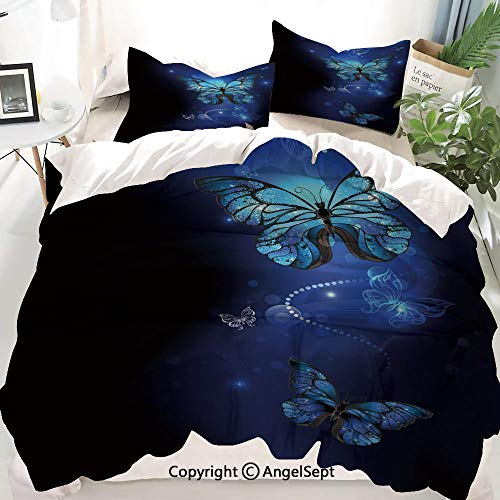 Homenon Dark Blue Decor Duvet Cover Set Full Size,Fantasy Magical Butterflies Monarch Artistic Morpho Inspiration,Decorative 3 Piece Bedding Set with 1 Pillow Shams