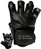Steel Sweat Workout Gloves - Best for Weightlifting Gym Fitness Training and Crossfit – Made for Men and Women who Love Lifting Weights and Exercise - Leather SCARR Black/Gray Small