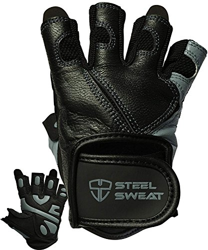 - Steel Sweat Workout Gloves - Best for Weightlifting Gym Fitness Training and Crossfit - Made for Men and Women who Love Lifting Weights and Exercise - Leather SCARR Black/Gray Medium