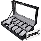 Cas De` Lux Luxury Watch Box with glass lid and Lock,  12 Slots