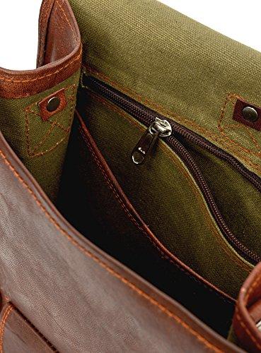 81stgeneration Men's Women's Genuine Large Leather Vertical Messenger Style Backpack Shoulder Bag by 81stgeneration (Image #3)