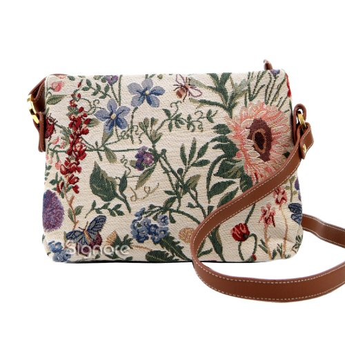 Ladies Garden Flower Tapestry Mini Satchel Cross-body Bag Adjustable Strap also as Small Shoulder Bag by Signare (XB02-MGD)l (Tapestry Satchel Bag)