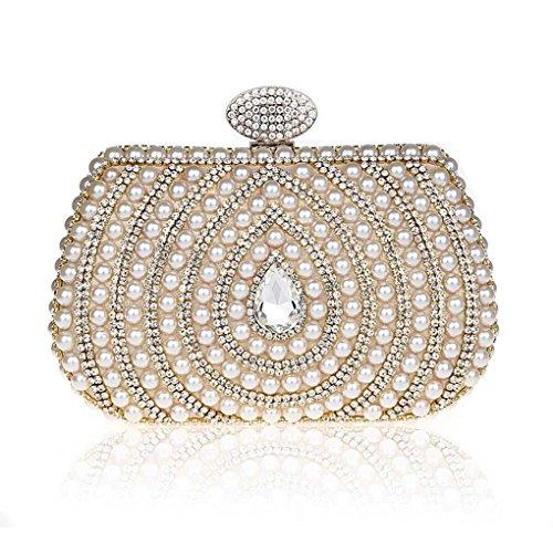 KAXIDY Imitation Perle Strass Designer Damentasche Tasche Clutches Handtasche Abendtasche Unterarmtasche Gold