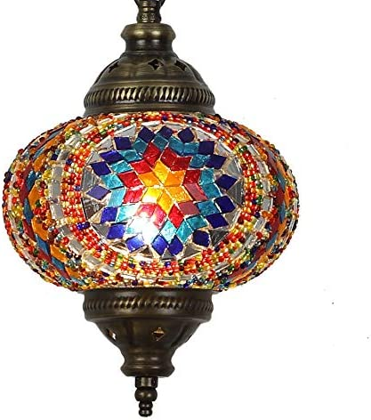 31 Models Handmade Pendant Ceiling Lamp Mosaic Shade, 2019 Stunning 16.5 Height – 7 Globe, Turkish Moroccan Glass Lantern Arabian Bedside Home Decoration Light Bronze Aegean