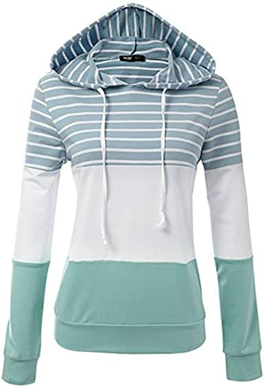 LUBITY Sweat à Capuche Femme Chic Rayé Imprimer Sangle de