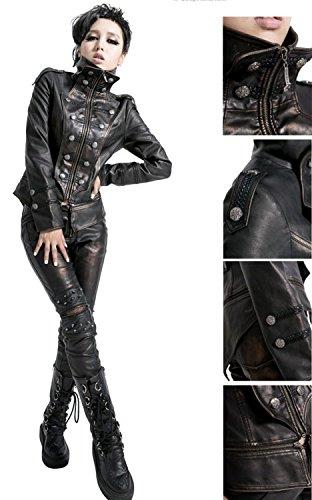 l'arm Noir synthtique Veste Punk 415 Cuir Noir de Punk Rave Uniforme y Marron x8qpqOI