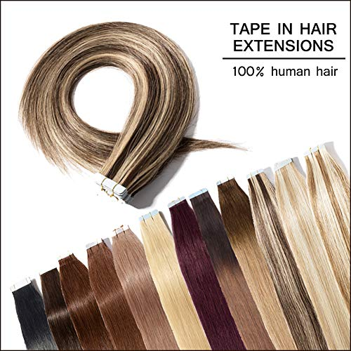 100% Remy Tape in Human Hair Extension 18'' Bonding Double Sided Tape Professional Long Thick Straight Seamless Skin Weft Hair 40Pcs/100g (Medium Brown Mixed Dark Blonde #4&27) + 20pcs Free Tapes (27 Piece With Curly Hair On Top)