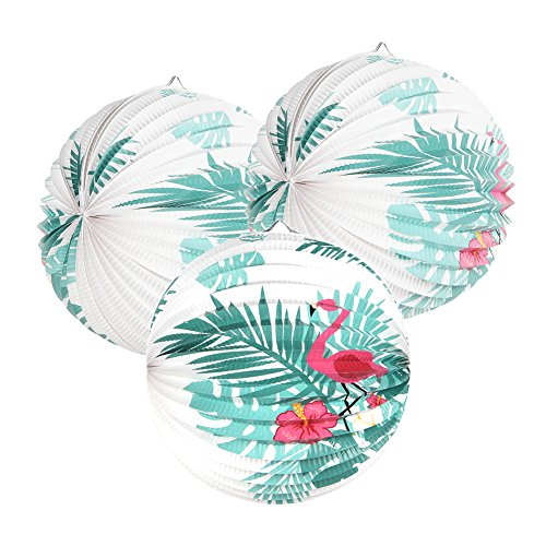 Pink Flamingo Paper Accordion Lanterns for Tropical Summer Party Decoration 9 Inches 3 Pieces Easy Joy (Big Flamingo)