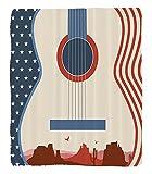 Chaoran 1 Fleece Blanket on Amazon Super Silky Soft All Season Super Plush Music Decor etCountry Music Festival Event Illustration Guitar with American Flag Design Inspiration Accessories ExtraCream R