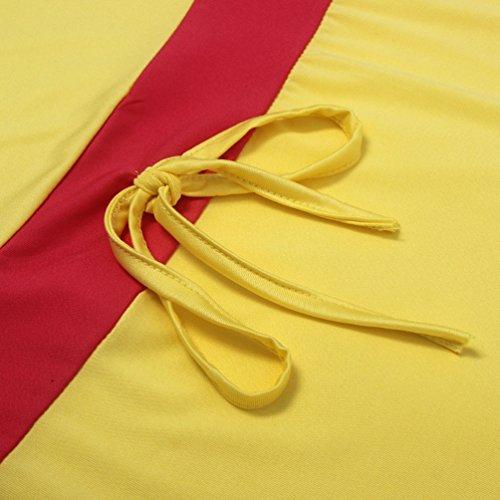 NiSeng Mujeres Empalme Vestidos Verano Sin Mangas Bodycon Vestidos Moda Vestidos Fiesta Cortos Amarillo
