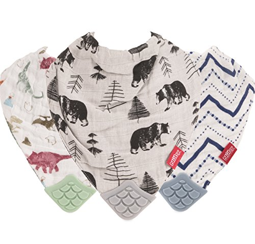 - Nuby Reversible 100% Natural Cotton Muslin 3 Piece Teething Bib, Green/Grey/Blue, Dinosaur/Bear/Stripes