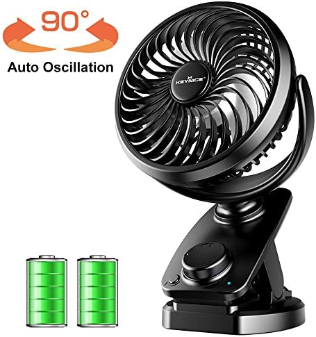 Clip Fan USB Desk Fans Table Personal with Rechargeable 5000mAh Battery Operated 90 Auto Rotation, Quiet Fan for Baby Stroller, Office, Home, Dorm, Camping- Black