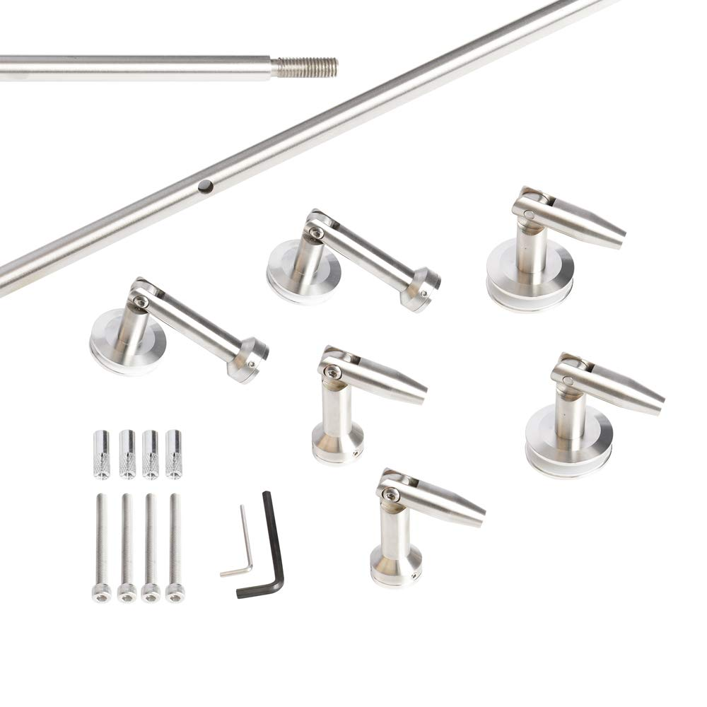 Laminated Tempered Glass Door Canopy Porch Awning Hardware Bracket Rod Front Door Canopy (4 Poles kit) by KINMADE