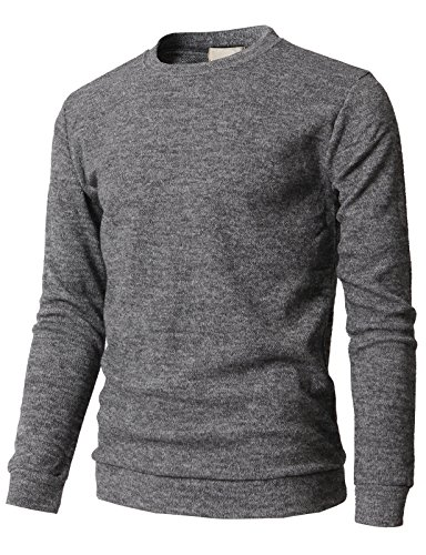 (H2H en's Knitted Long Sleeve Crew Neck Stripes Slim Fit Casual Sweater Gray US L/Asia XL (KMTTL0450))