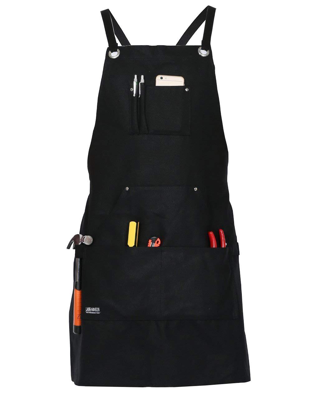 PILIN Grembiule da Lavoro/Cuoco in Tela Cerata Nera con Tasche per Utensili | Grembiule Cross-Back con Grembiule Leggero e Resistente e Regolabile per Uomo e Donna