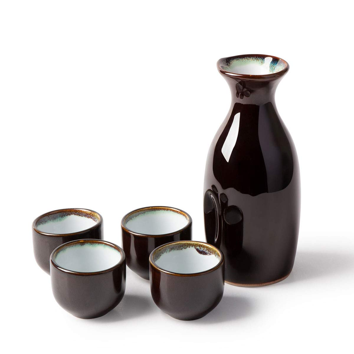 KBNI 5-Piece Japanese Sake Set Sky Blue Rim include 1PC Sake bottle and 4PCS Sake Cups by KBNI