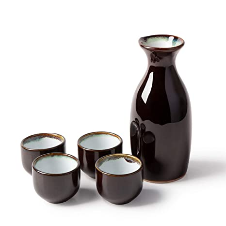 Amazon.com: KBNI Juego de 5 piezas de sake japonés, borde ...