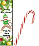 Dozen Merry Christmas Sock Monkey Bookmarks With Candy Canes