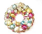 CUSTOM Vintage Italian Fontanini Angel Glass Christmas Wreath Holiday Shiny Brite Radio Pink