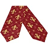 Naanle Double-Sided Fleur De Lis Seamless Pattern with Gold Lily Ornament Red Empire Polyester Table Runner/Bed Runner 13 x 90 Inches Long Home Table Top Decoration Wedding Party Decor