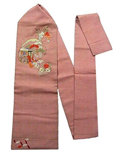 ダイヤモンド雪のに対応アンティーク 名古屋帯  刺繍 貝合せ 御所車と桜 人絹