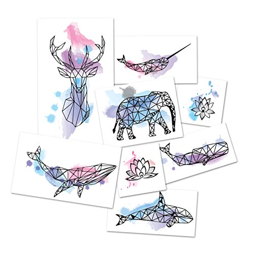 Tattoo Moments Watercolor Animals Temporary Tattoos - Complete set (Set of 16 Tattoos, 2 of each design) - Fashionable, Unique, Skin Safe and Waterproof - Perfect for Arm, Chest, Back or Legs