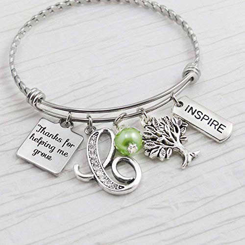 - Teacher Bangle, Thank you for helping me grow Teacher Gifts, Initial Letter charm bracelet, Inspire, Tree charm